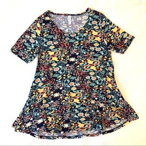 LuLuRoe Colorful Floral Print Perfect T Shirt Top